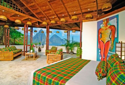 Room viewing the Pitons of St. Lucia