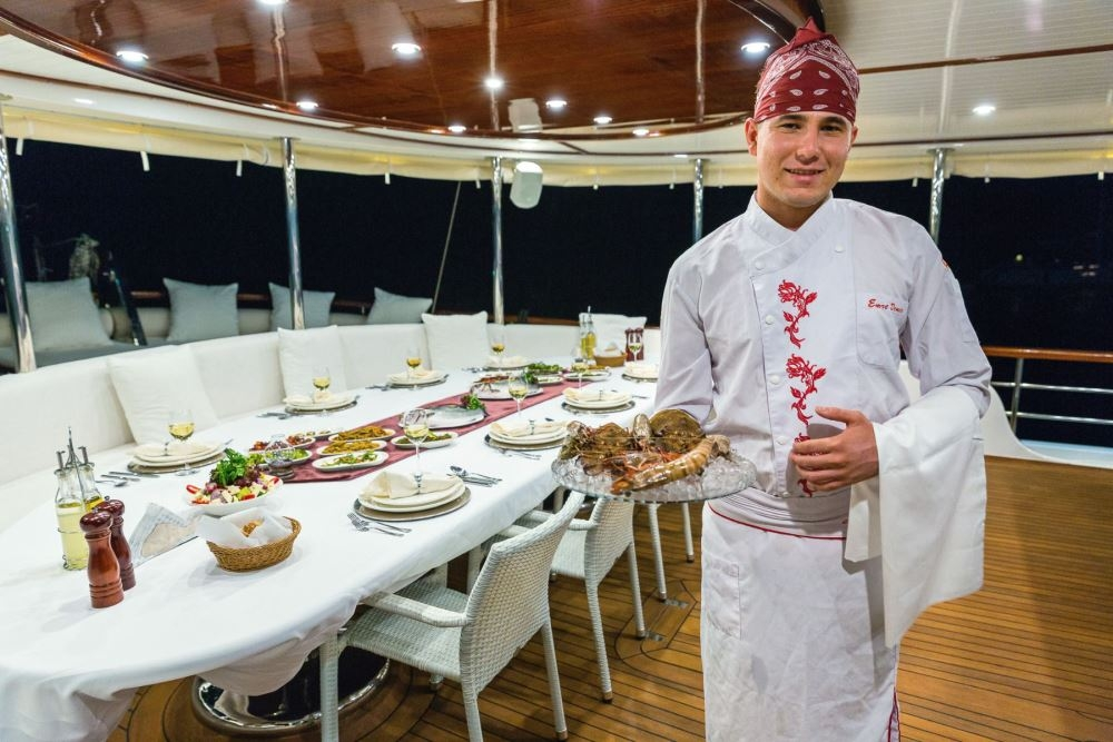 delicious food onboard Gulet yacht cruising in Turkey