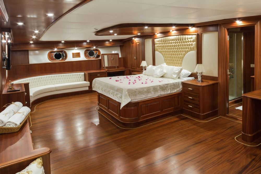 beautiful cabin onboard Gulet yacht cruising in Turkey