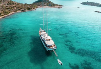 Gulet yacht cruising in Turkey in beautiful coves